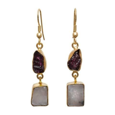 Handmade Gold Overlay Garnet and Rainbow Moonstone Earrings (India) - multi