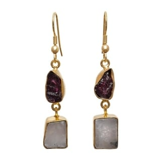 Gold Plated Brass Garnet and Rainbow Moonstone Dangle Earrings (India)