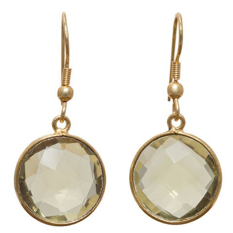 Handmade Gold Overlay Lemon Quartz Earrings (India) - Green Tea