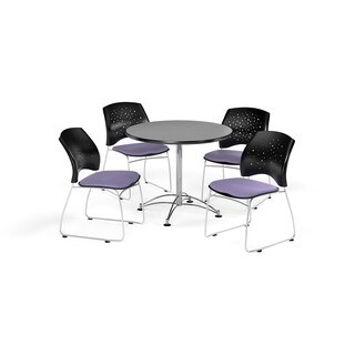 OFM Gray 42-inch Round Multi Purpose Table with 4 Star Chairs