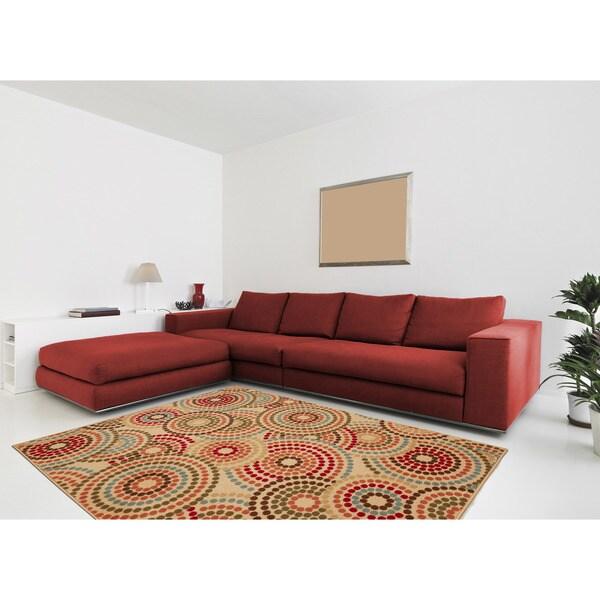 """Anne Collection Circle Design Beige Modern Nonskid Area Rug (3'3 x 5'0) - 3'3"""" x 5'"""