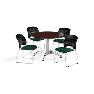 OFM Mahogany 36-inch Round Break Room Table with 4 Star Chairs