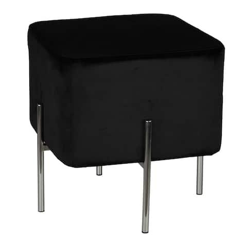 Cortesi Home Zane Black Velvet and Metal Legs Cube Ottoman