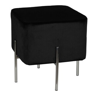 Cortesi Home Zane Black Velvet and Metal Legs Cube Ottoman