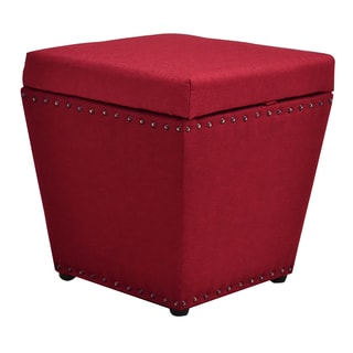 Cleo Red Wood/Fabric Storage Ottoman