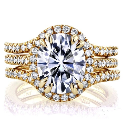 Annello by Kobelli 14k Yellow Gold 3ct Oval Moissanite and 4/5ct TDW Diamond Halo 3-Piece Bridal Set
