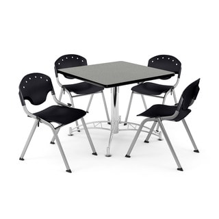 OFM Gray 36-inch Square Laminate Top Table with 4 Rico Chairs