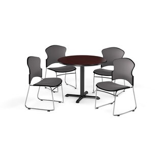 """OFM Mahogany 36-inch Round X Shaped Base Table with 4 Fabric Chairs - 36"""""""