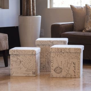 Danya B. Folding Storage Ottoman 3 Pc Set - Vintage Script