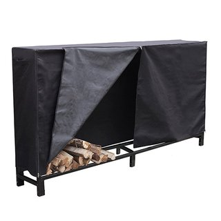 HIO Firewood Cover 8 Feet Log Wood Storage Rack Cover, Fireplace Accessories, Black