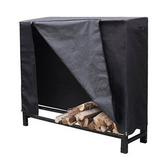 HIO Firewood Cover 4 Feet Log Wood Storage Rack Cover, Fireplace Accessories, Black