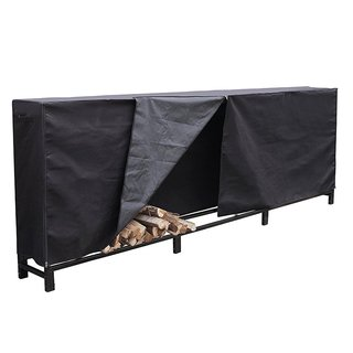 HIO Firewood Cover 12 Feet Log Wood Storage Rack Cover, Fireplace Accessories, Black
