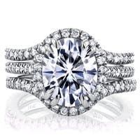 Annello by Kobelli 14k White Gold 3ct Oval Moissanite and 4/5ct TDW Diamond Halo 3-Piece Bridal Set (G-H, I1-I2