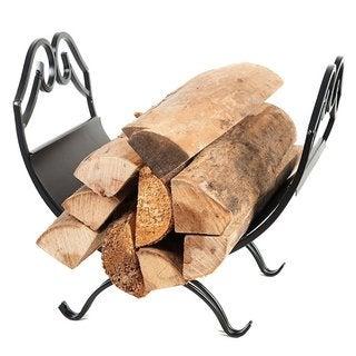 HIO Small Decorative Firewood Racks 18.5 Inch Wrought Iron Indoor/Outdoor Fireside Log Rack