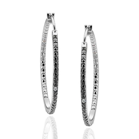 Sterling Silver Diamond Accent Hoop Earrings (China)