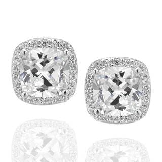 Sterling Silver Square Cushion Cubic Zirconia Halo Stud Earrings (China)