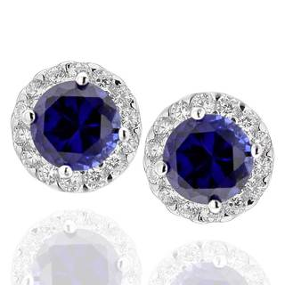Sterling Silver Created Blue Sapphire and Cubic Zirconia Round Halo Stud Earrings (China)