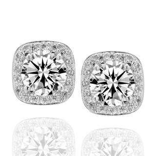 Sterling Silver Raised 6mm Round Cubic Zirconia Halo Stud Earrings (China)