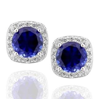 Sterling Silver Created Blue Sapphire and Cubic Zirconia Square Halo Stud Earrings (China)