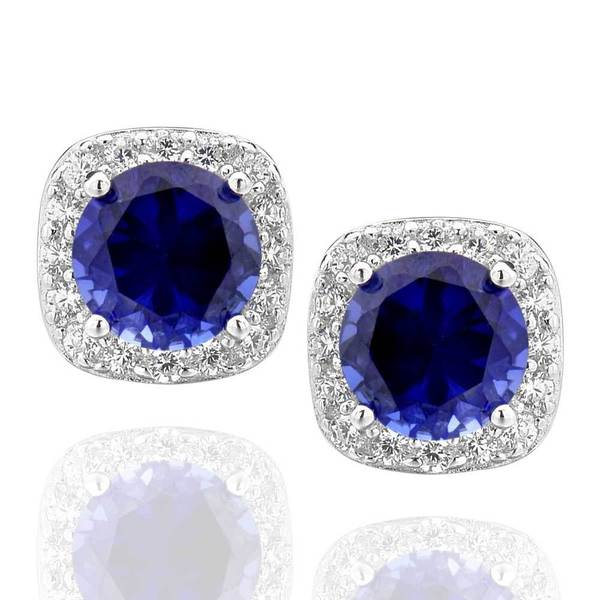 4e7803397 Sterling Silver Created Blue Sapphire and Cubic Zirconia Square Halo Stud  Earrings (China)