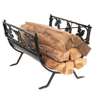 HIO Small Leaves Decorative 18.5 Inch Wrought Iron Indoor/Outdoor Fireside Log Rack