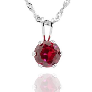 Sterling Silver Created Ruby Solitaire Pendant Necklace (China)