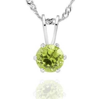 Sterling Silver Round Peridot Solitaire Pendant Necklace (China)