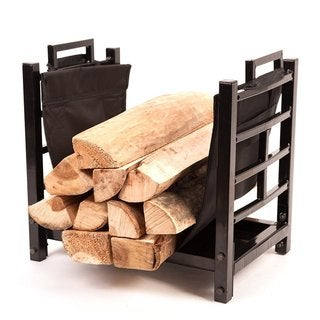 HIO Small Firewood Racks 18 Inch Fireplace Log Holder With Canvas Carrier