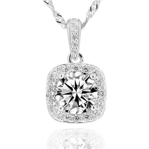 Sterling Silver 7mm Round Cubic Zirconia Halo Pendant 18-inch Chain Necklace (China)