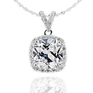 Sterling Silver 9 mm Square Cushion Cubic Zirconia Halo Pendant 18-inch Chain Necklace