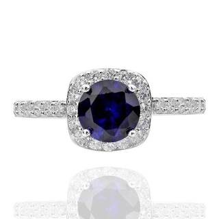 Sterling Silver 7mm Round Created Blue Sapphire and Cubic Zirconia Halo Ring