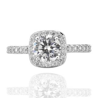 Sterling Silver Cubic Zirconia Bridal Engagement Square Halo Ring (China)
