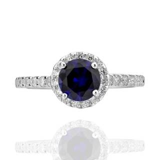 Sterling Silver 7 mm Round Created Blue Sapphire and Cubic Zirconia Halo Ring (China)