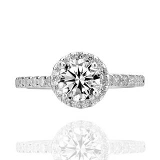 Sterling Silver Round Cubic Zirconia Halo Bridal Engagement Ring (China)