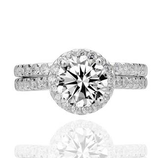 Sterling Silver Cubic Zirconia 2-Piece Halo Bridal Ring Set (China)