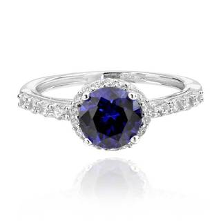 Sterling Silver 7.5 mm Round Created Blue Sapphire and Cubic Zirconia Halo Ring (China)