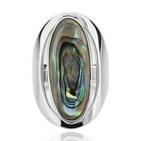 Sterling Silver Oval Abalone Shell Elongated Solitaire Ring (China)