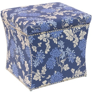 Skyline Furniture Storage Ottoman in Mum Blue Ground