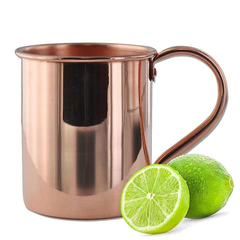 Solid Moscow Mule 100-percent Copper Mugs with Smooth Finish 16-ounce with Solid Copper Handle