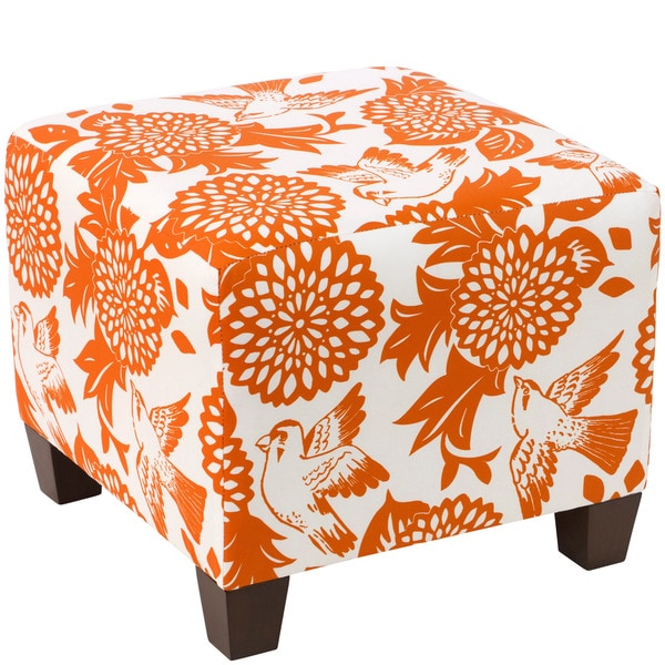 Skyline Furniture Ottoman In Garden Bird Orange