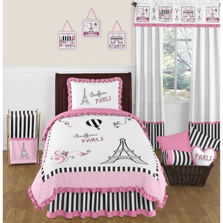 Sweet Jojo Designs 4-piece Pink Black and White Paris Eiffel Tower Twin-size Bed in a Bag Set
