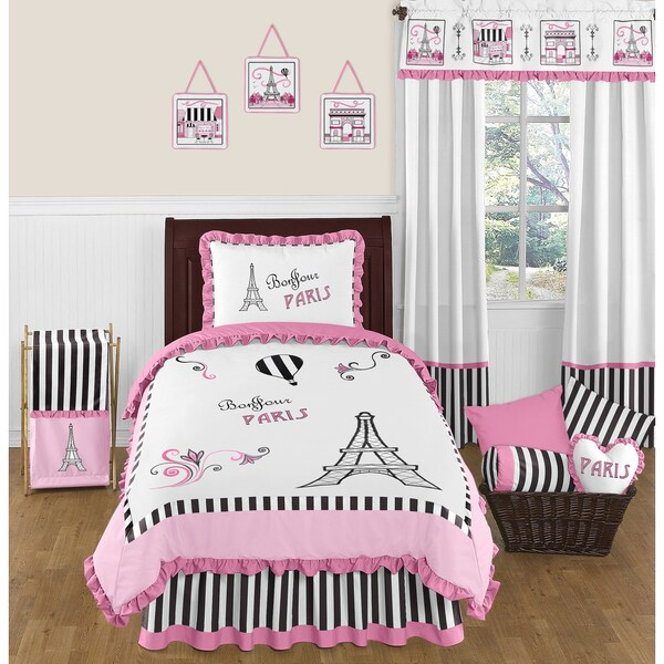 Sweet Jojo Designs Pink Black and White Paris Eiffel Tower Twin-size 4-piece Bed in a Bag Set