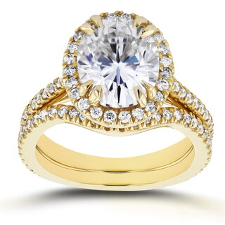 Annello by Kobelli 14k Yellow Gold 3ct Oval Moissanite and 3/5ct TDW Diamond Halo 2-Piece Bridal Set