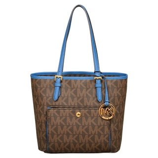 Michael Kors Jet Set Medium Brown/Steel Blue Snap Pocket Tote Bag