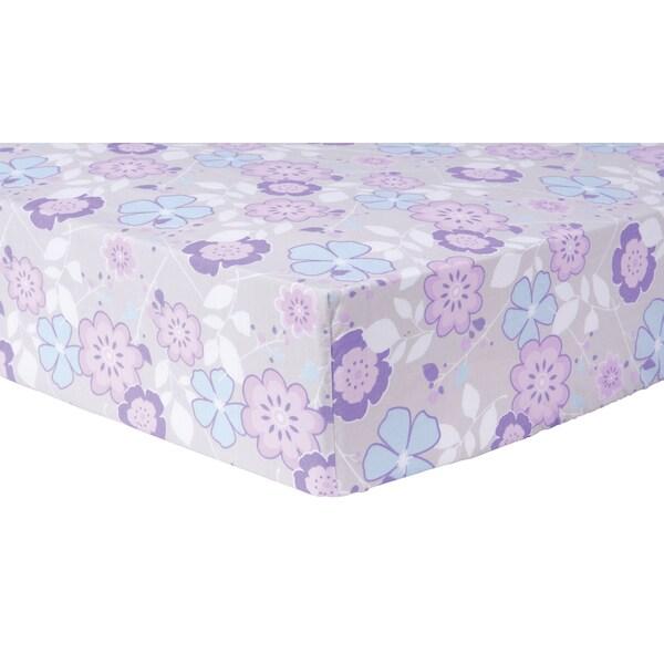 Shop Trend Lab Grace Purple Floral Cotton Fitted Crib