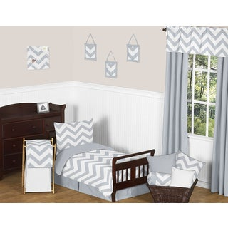 Sweet Jojo Designs 5-piece Grey and White Chevron Toddler-size Bed in a Bag with Sheet Set