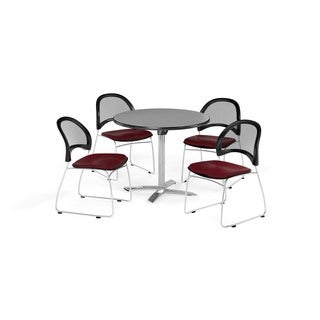 OFM Gray 36-inch Square Flip Top Break Room Table with 4 Moon Chairs