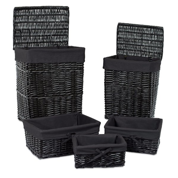 Willow Wicker Storage Basket With Liner For Home: Shop BirdRock Home Woven Willow Rattan Baskets With Liner
