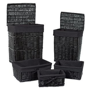 BirdRock Home Woven Willow Rattan Baskets with Liner