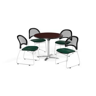 OFM Mahogany 36-inch Square Flip Top Break Room Table with 4 Moon Chairs
